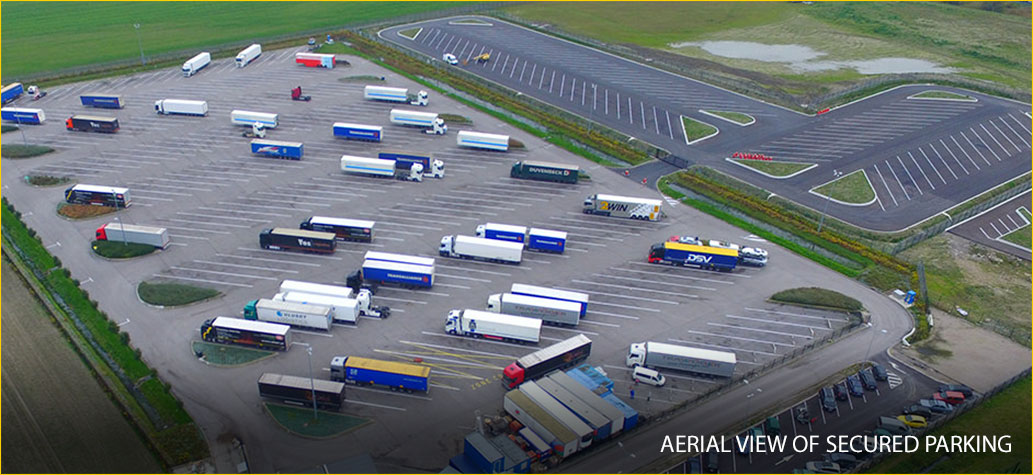 Aerial view of secured parking